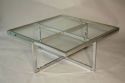 Large silver framed and glass coffee table - picture 2