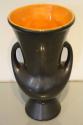 A black opaque Vallauris ceramic vase with orange interior, French c1950 - picture 2