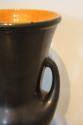 A black opaque Vallauris ceramic vase with orange interior, French c1950 - picture 3