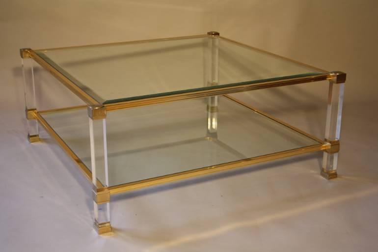 A good size two tier lucite and glass Pierre Vandel coffee table, French c1970