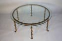 A Spanish gilt metal and glass circular coffee table. c1950 - picture 2