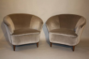 Vintage Italian 1950`s pair of velvet upholstered armchairs. - picture 1