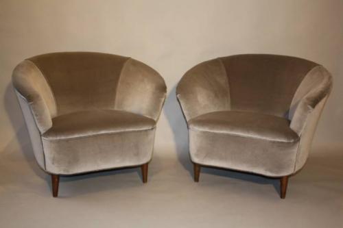 Vintage Italian 1950`s pair of velvet upholstered armchairs.