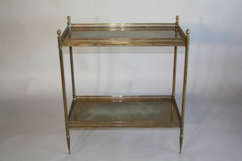 A gilt metal two tier side table, French c1950