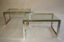 A pair of silver and gold metal and glass end/side tables, French c1970 - picture 1