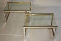 A pair of silver and gold metal and glass end/side tables, French c1970 - picture 2