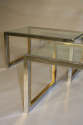 A pair of silver and gold metal and glass end/side tables, French c1970 - picture 3