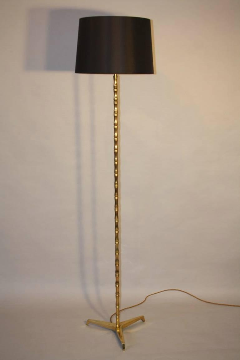 Gold bronze bamboo floor lamp