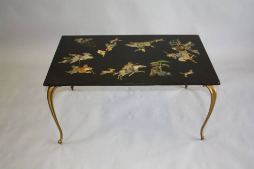 An unusual inlay stone top coffee table. French c1950