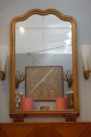 Large giltwood overmantle mirror with double serpentine top. Napoleon III, French c1850. Original mercury glass - picture 4