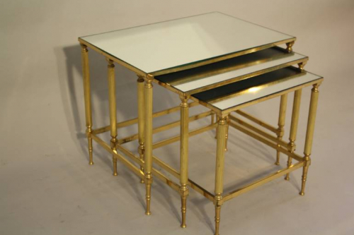 Nest of Tables with Mirror Tops, French c1970