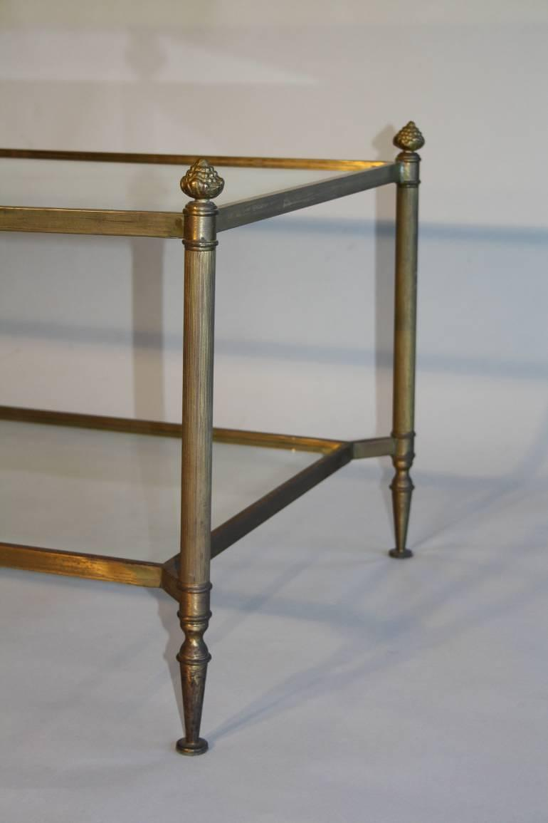Faded brass two tier acorn finial coffee table, French c1960