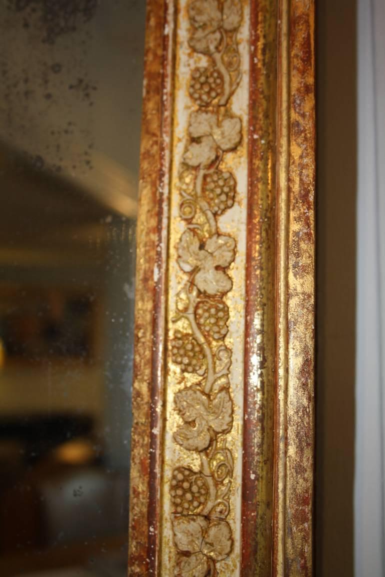 Antique French mirror with grape vine detail, c1870, original mercury glass