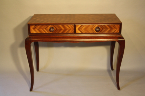 Herringbone inlaid wood table