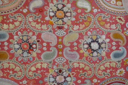 Early C20th beautifully detailed hand stitched Indian paisley textile