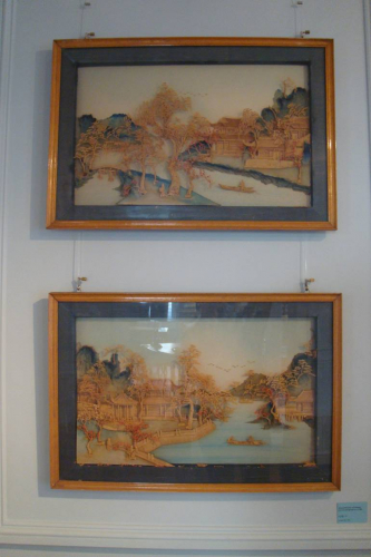Pair of Chinese landscape carved wood pictures. Delicately executed c1920.