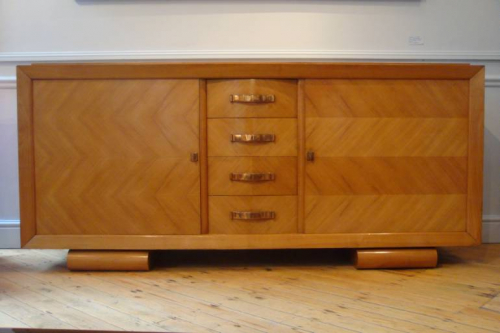 Stunning French 1930`s Cherry wood parquetry credenza with original copper handles and key