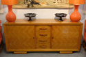 Stunning French 1930`s Cherry wood parquetry credenza with original copper handles and key - picture 2