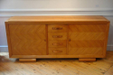 Stunning French 1930`s Cherry wood parquetry credenza with original copper handles and key - picture 4