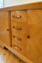 Stunning French 1930`s Cherry wood parquetry credenza with original copper handles and key - picture 5