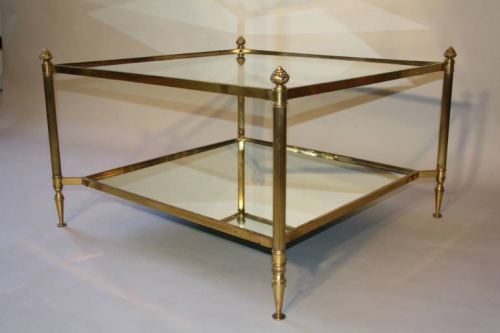 French 1950`s square two tier coffee table
