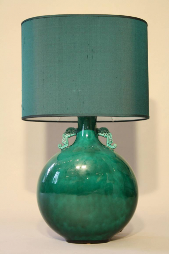 A jade green ceramic lamp by Paul Millais for Sevres, French c1950