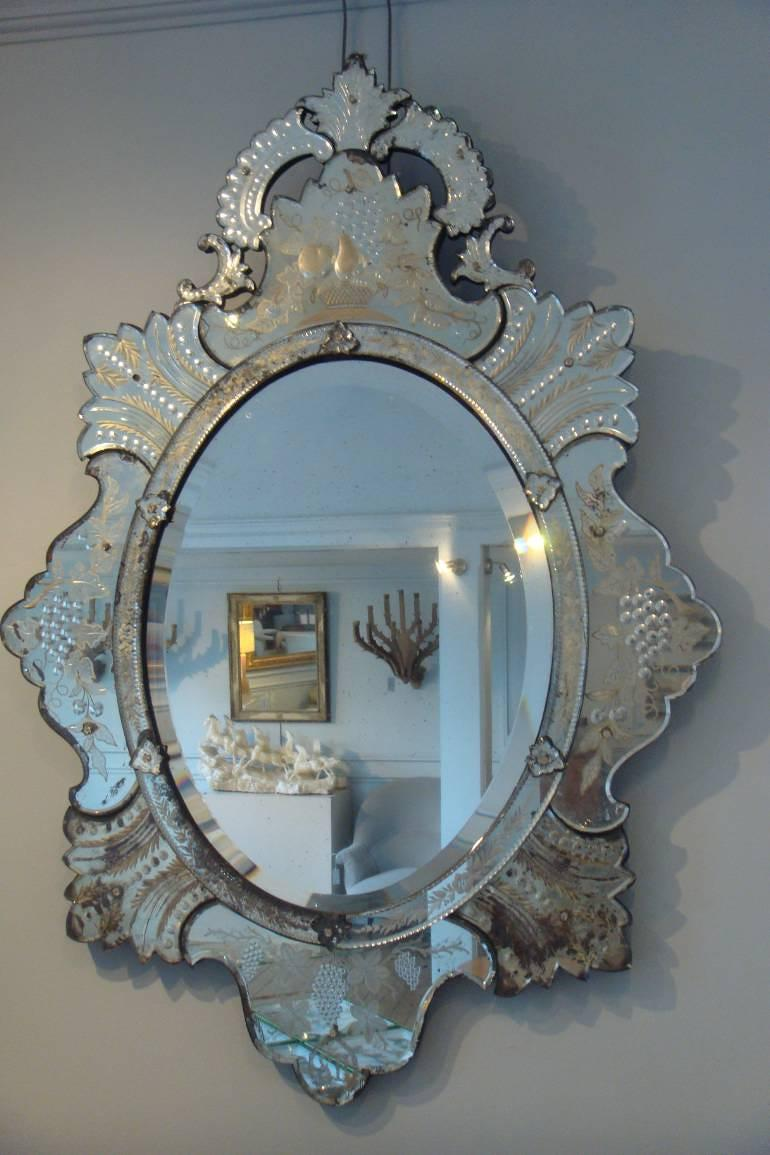 Superb C19th Venetian mirror with etched detail of grapes and fruit