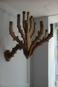 A pair of twelve branch carved walnut wall candelarbra - picture 4
