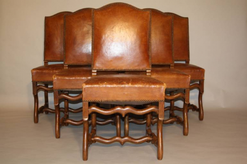 A set of 6 tan leather Os de Mouton dining chairs