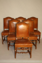 A set of 6 tan leather Os de Mouton dining chairs - picture 3