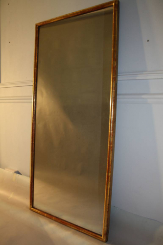 C19th French tall gilt bistro mirror with mercury plate