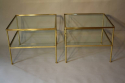 A pair of brass and glass two tier side tables - picture 2
