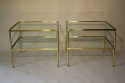 A pair of brass and glass two tier side tables - picture 3