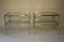 A pair of brass and glass two tier side tables - picture 4