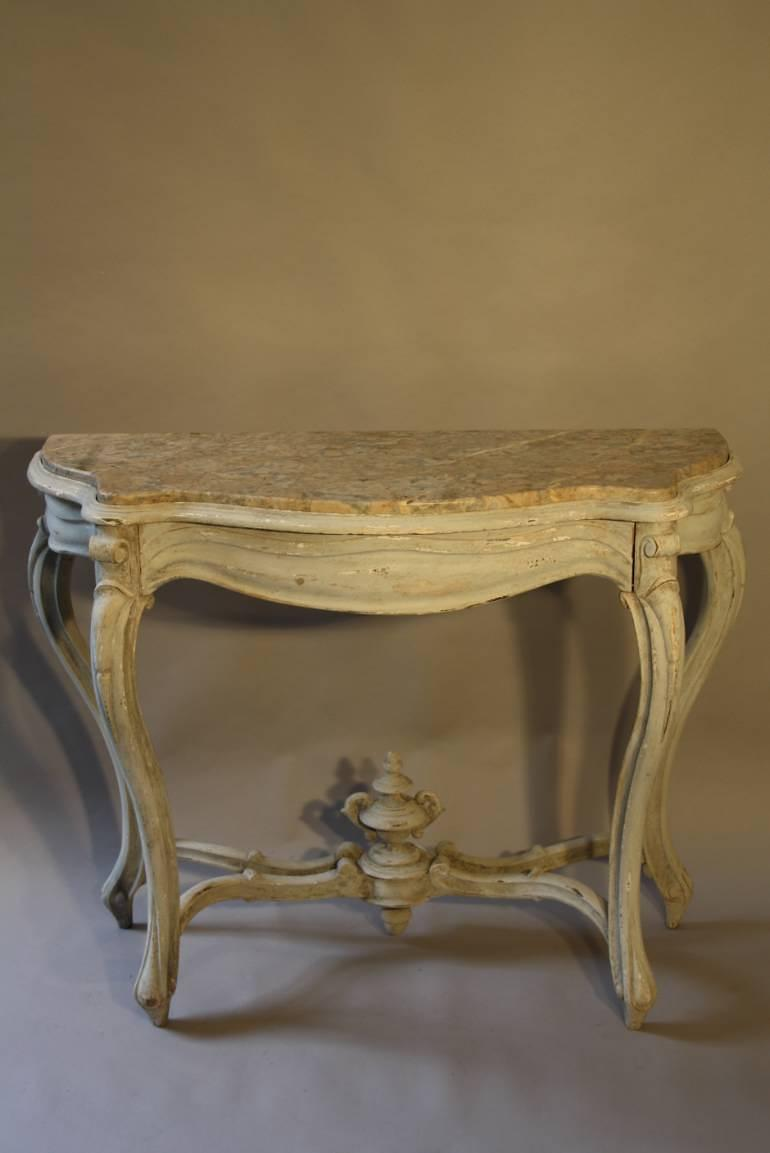 Napoleon III marble console with drawer
