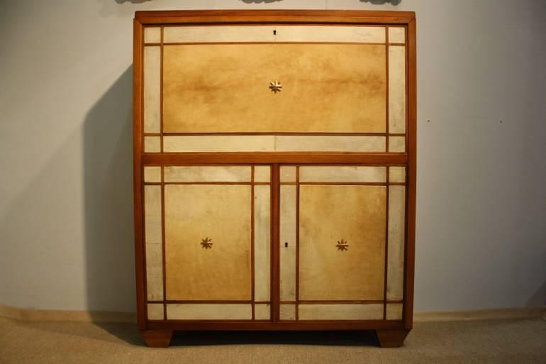 Italian 1950`s fruitwood and parchment cabinet