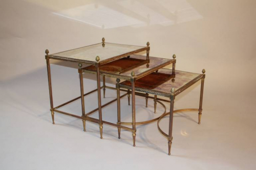 Nest of tables with antique mirror glass, French c1950