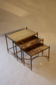 Nest of tables with antique mirror glass, French c1950 - picture 2