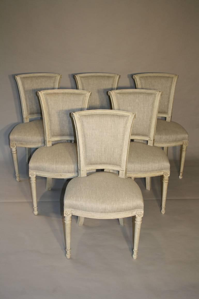 A set of 6 Directoire style chairs