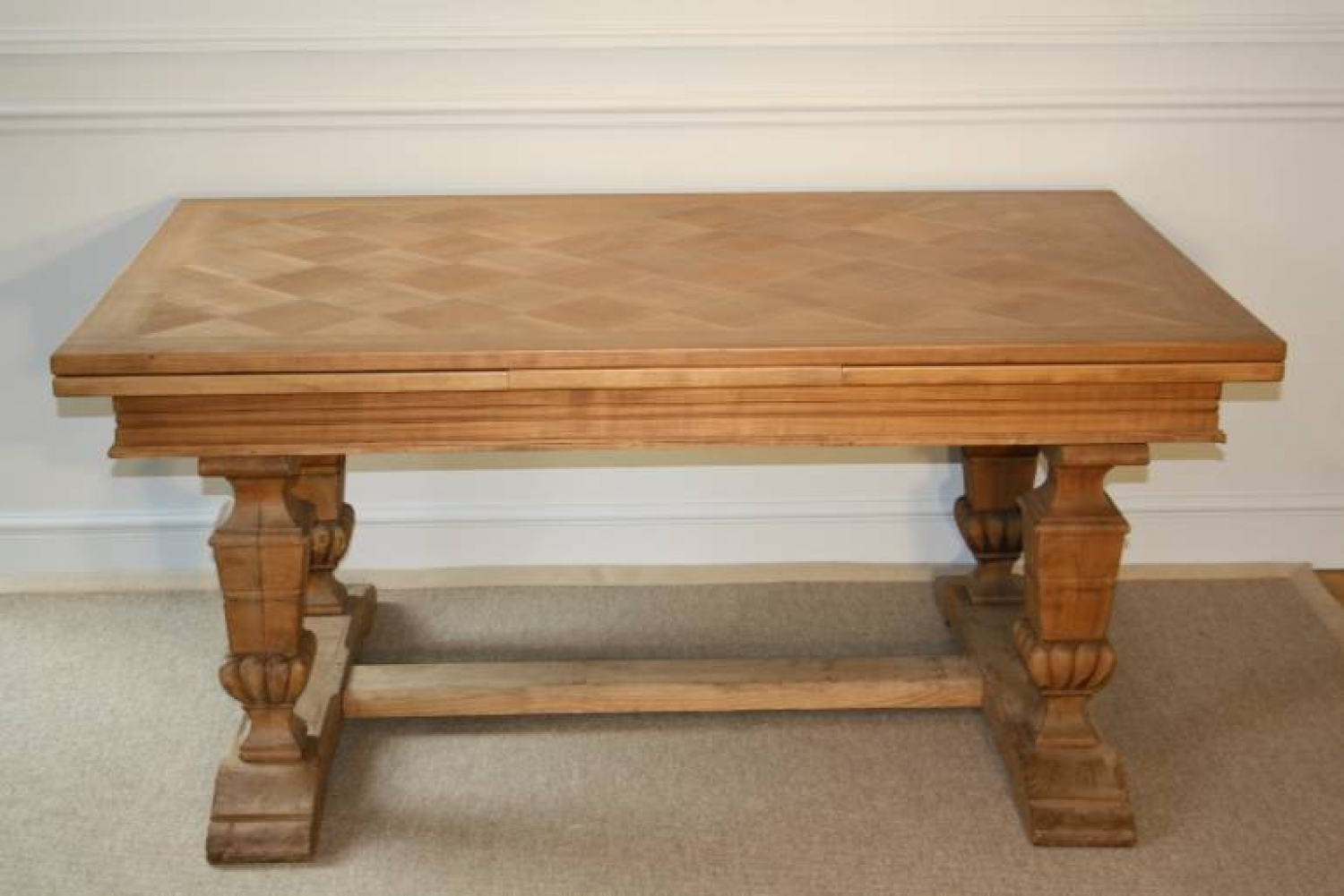 Wooden parquet extending dining table. French