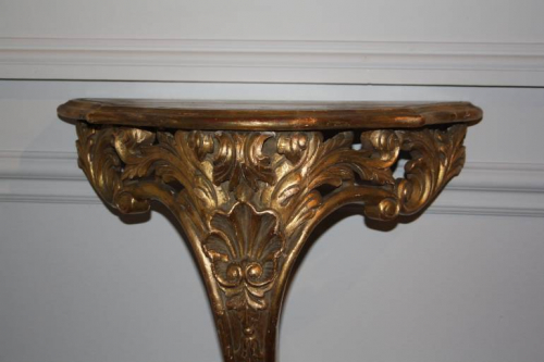 Antique carved giltwood wall console, French c1900