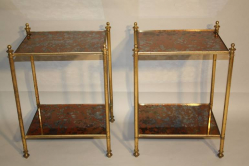 Copper mirror end tables