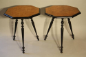 A pair of ebonised and birds eye maple, octagonal tripod tables, c1870 - picture 2