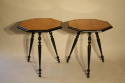 A pair of ebonised and birds eye maple, octagonal tripod tables, c1870 - picture 3