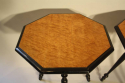 A pair of ebonised and birds eye maple, octagonal tripod tables, c1870 - picture 4