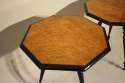 A pair of ebonised and birds eye maple, octagonal tripod tables, c1870 - picture 5
