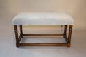 Antique C18th walnut framed stretcher bobbin leg bench, English c1700 - picture 1