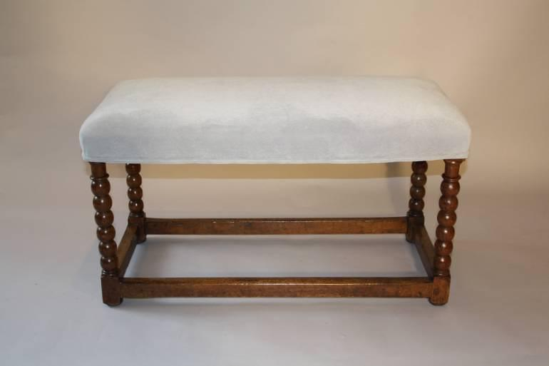 Antique C18th walnut framed stretcher bobbin leg bench, English c1700