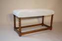 Antique C18th walnut framed stretcher bobbin leg bench, English c1700 - picture 2