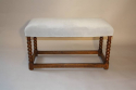 Antique C18th walnut framed stretcher bobbin leg bench, English c1700 - picture 3